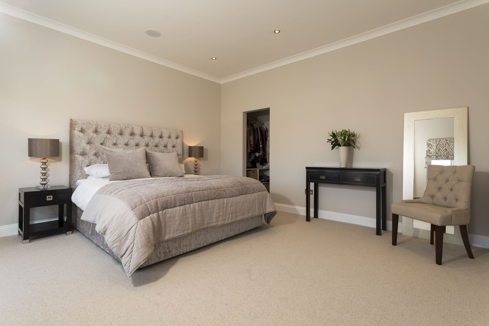 Beautiful Taupe And Black Rear Dormer Loft Conversion Master Bedroom With Walk In Wardrobe And