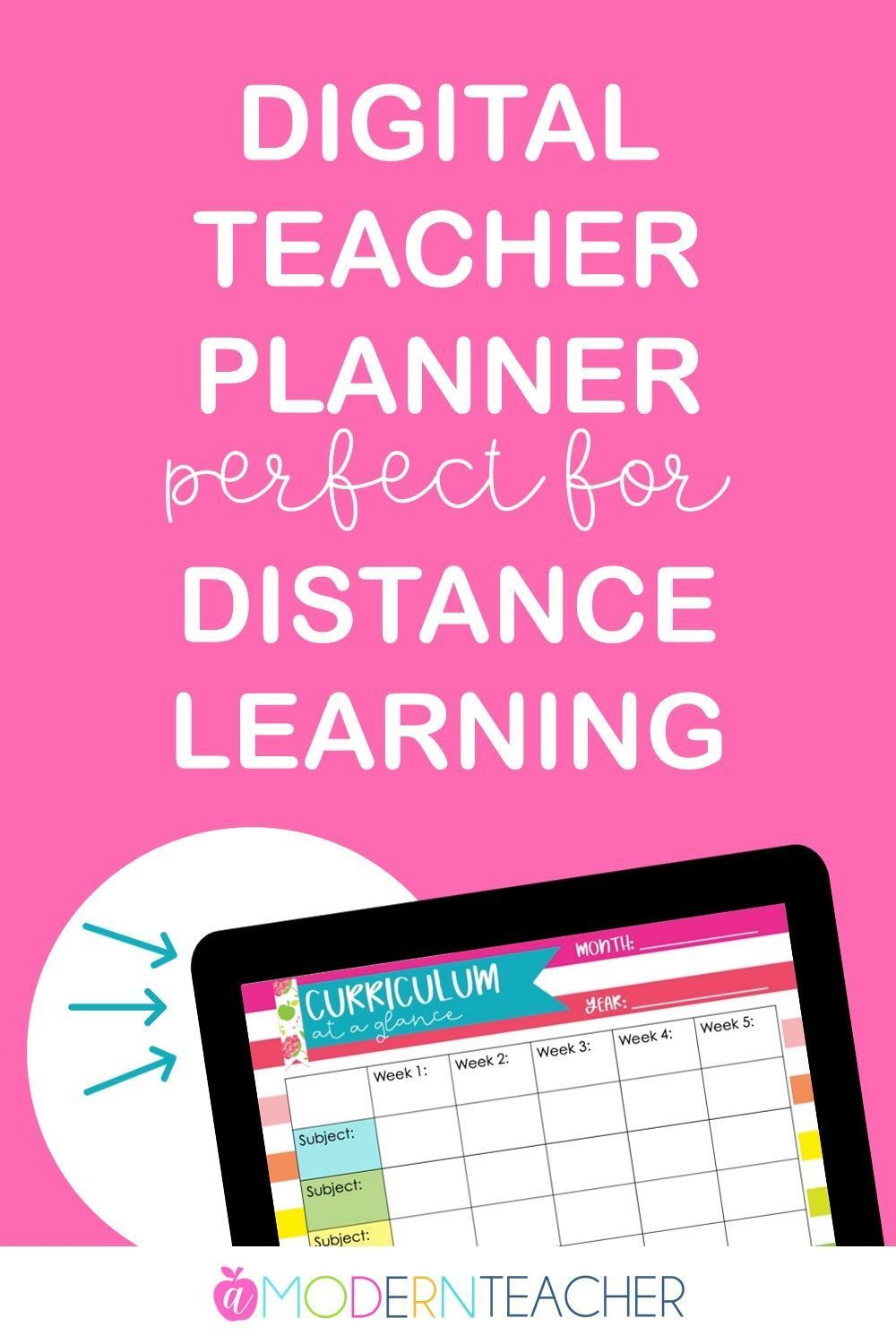 Editable Teacher Planner Binder Distance Learning in 2020