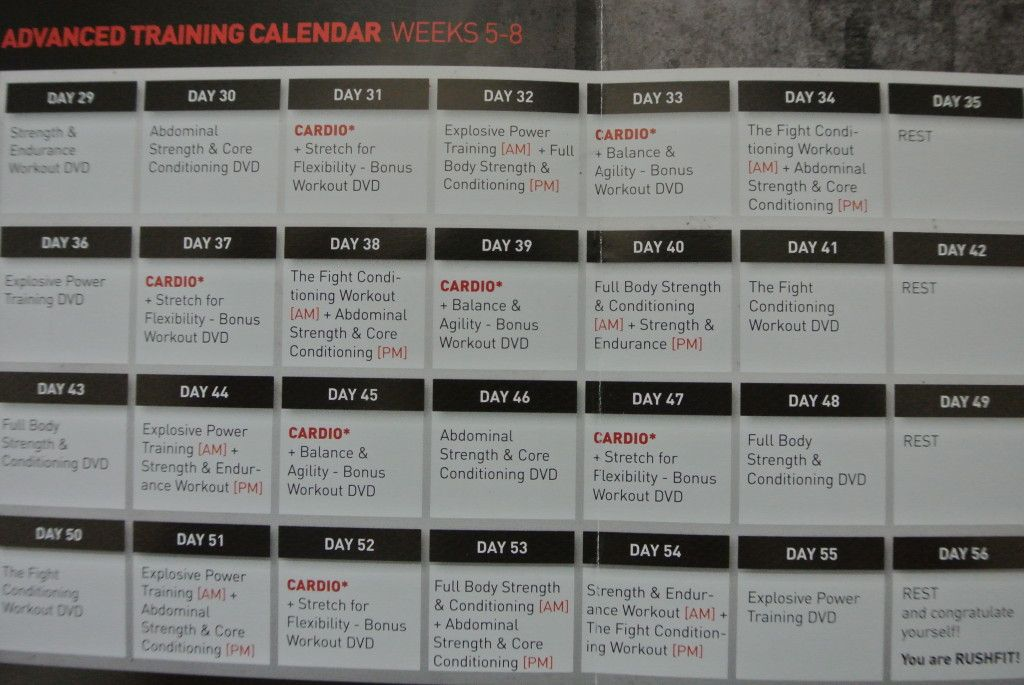 rushfit workout calendar