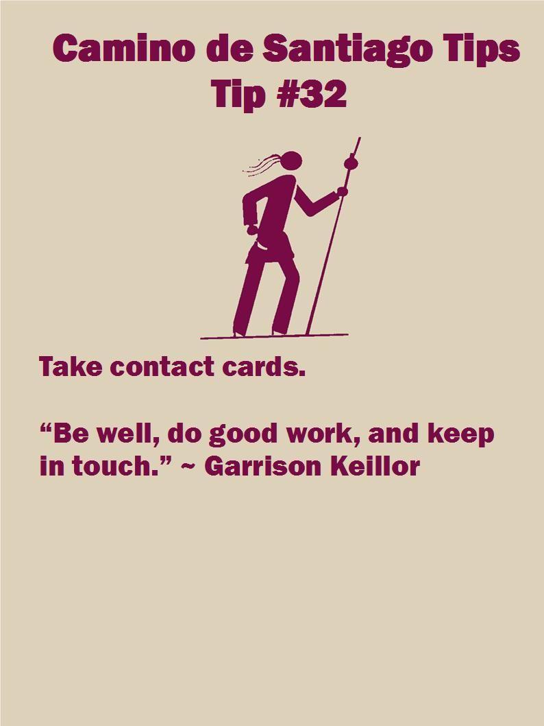 Camino Tip 32: Take Contact Cards