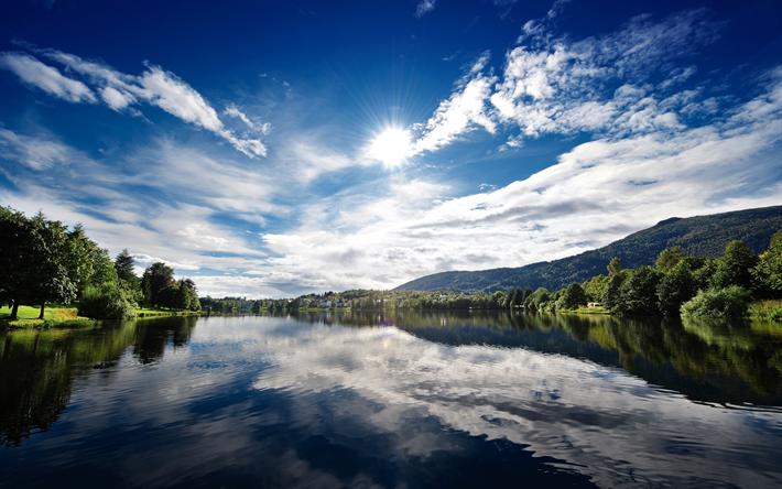 Scarica sfondi lago, estate, sole, foresta