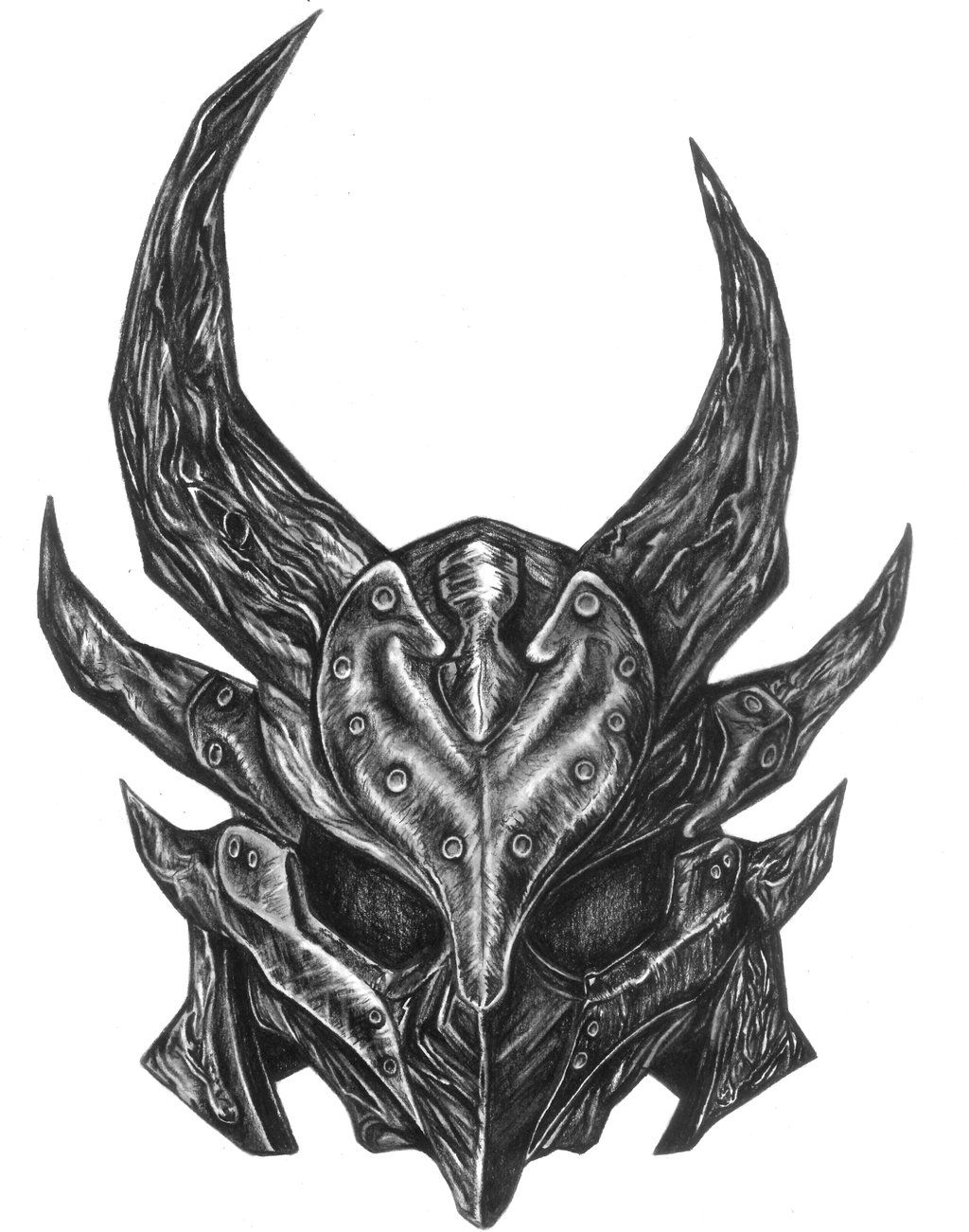 Skyrim Daedric Helmet Charcoal by darkenedhearte.deviantart.com on @deviantART -- hand tattoo?? I think so