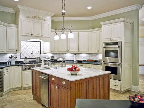 Standard Kitchen Cabinet Size With Center Island and Hanging Lamps