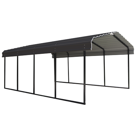 Arrow Galvanized Steel Metal Carport 12x20 Charcoal Walmart Com In 2020 Steel Carports Metal Carports Car Canopy