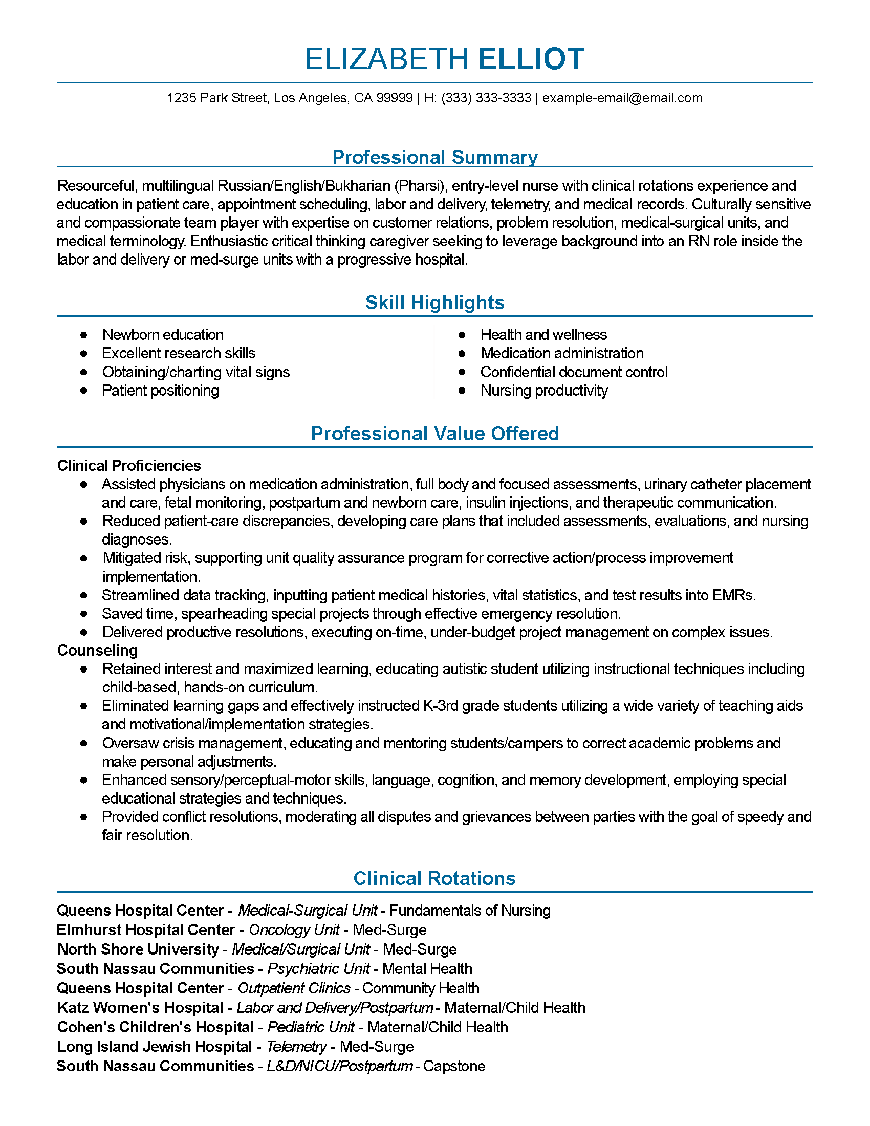 Los Angeles Example Email Nursing Student Resume Sample Entry