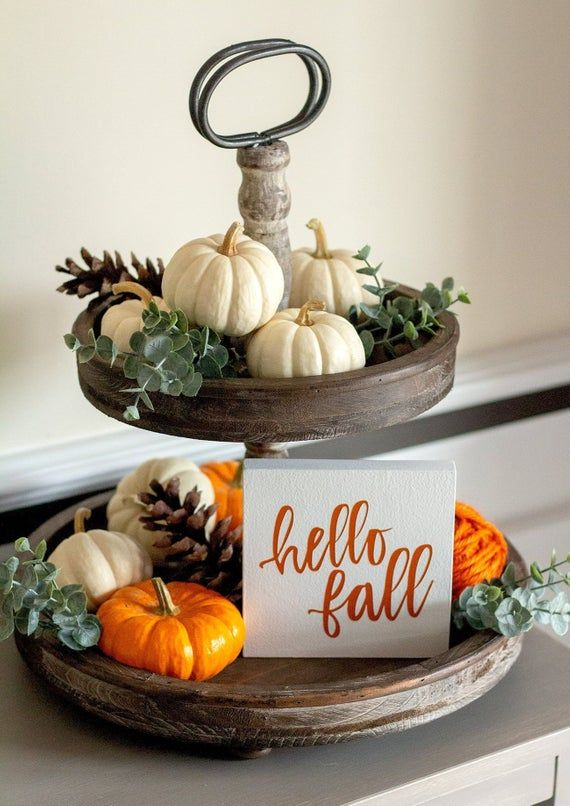 Tiered Tray Sign Hello Fall-Fall Home Decor-Mini Fall Sign Decor-Orange Fall Decor-Housewarming Gift-Thanksgiving Decor-Farmhouse Fall Decor