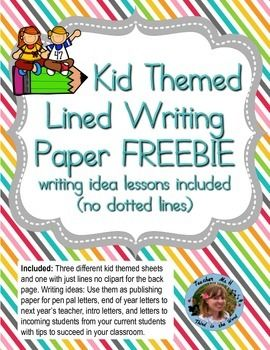 free kid themed lined writing paper freebie for second graders