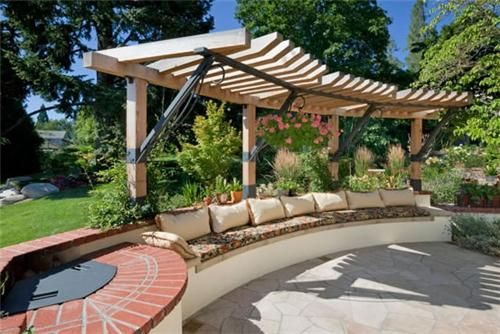 Built-In Bench  Pergola and Patio Cover  Solid Ground Landscape Inc.  Ashland, OR