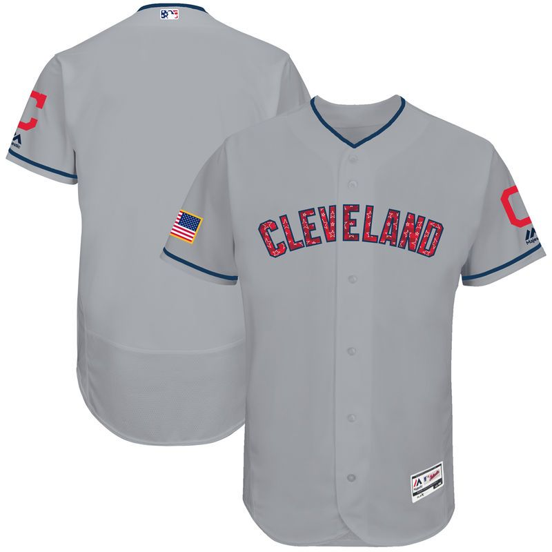 Cleveland Indians Majestic 2017 Stars and Stripes Authentic Collection Flex Base Team Jersey - Gray