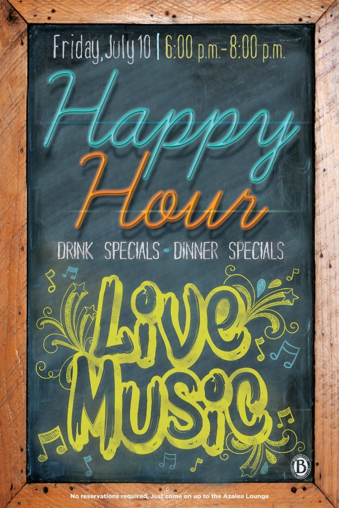 happy hour live music flyer poster design template