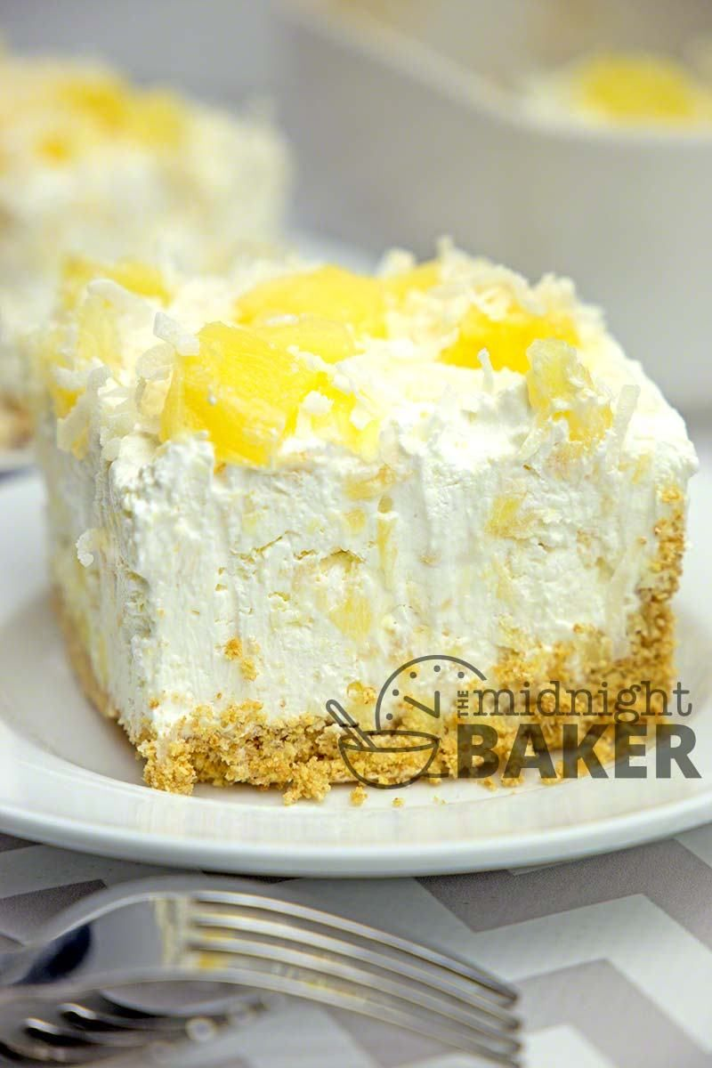 No-Bake Pineapple Cream Dessert - The Midnight Baker