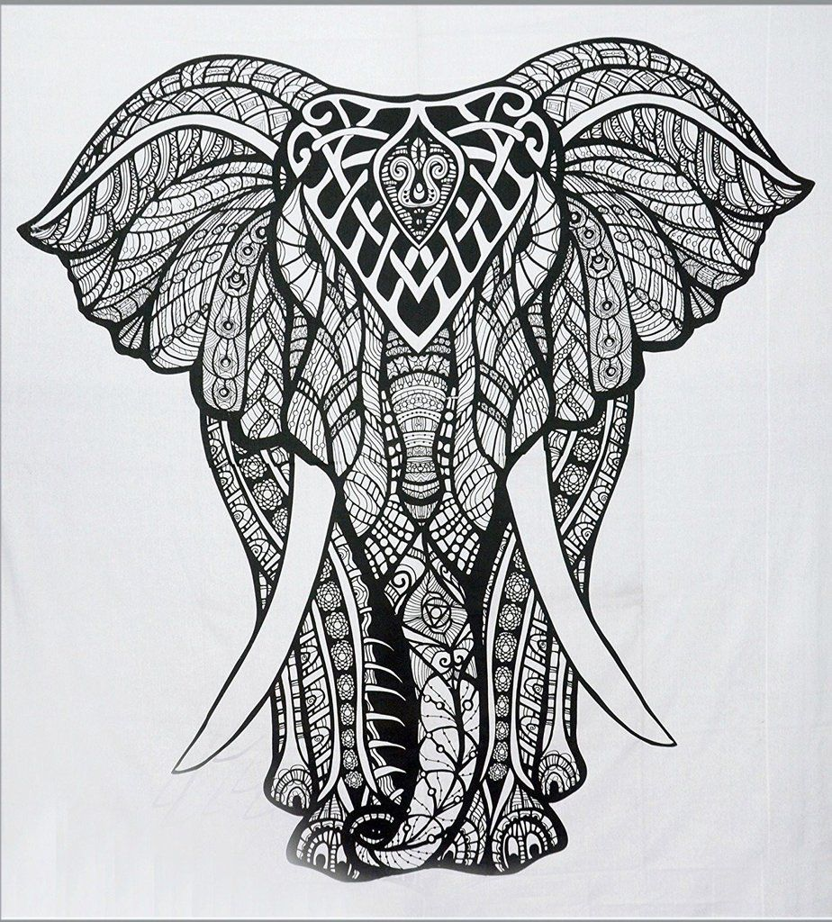 elephant black and white tapestries cool college dorm