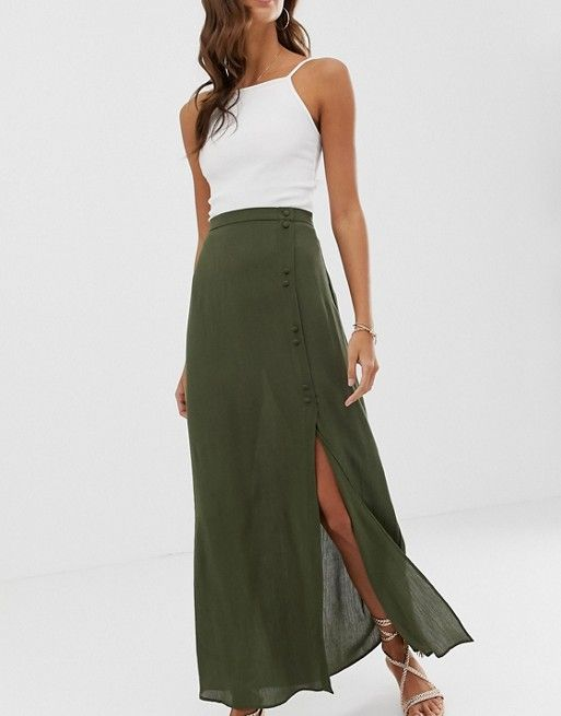 DESIGN crinkle maxi skirt with self covered buttons