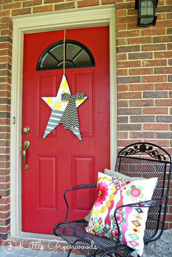 DIY Star Door Decor for Summer Holidays & DIY Star Door Decor for Summer Holidays | Star spangled Wreaths and ...