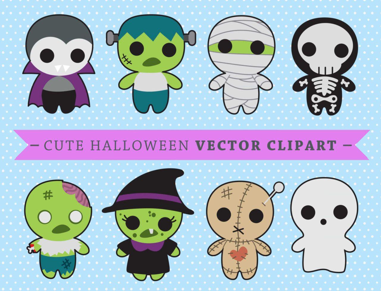 premium vector clipart kawaii spooky halloween halloween monsters clipart high quality vectors instant download kawaii clipart [ 1280 x 978 Pixel ]