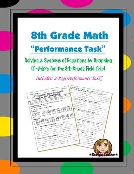8th Grade Common Core Math Performance Task Systems Of Equations 2 Performance Tasks Systems Of Equations Performance Tasks Math