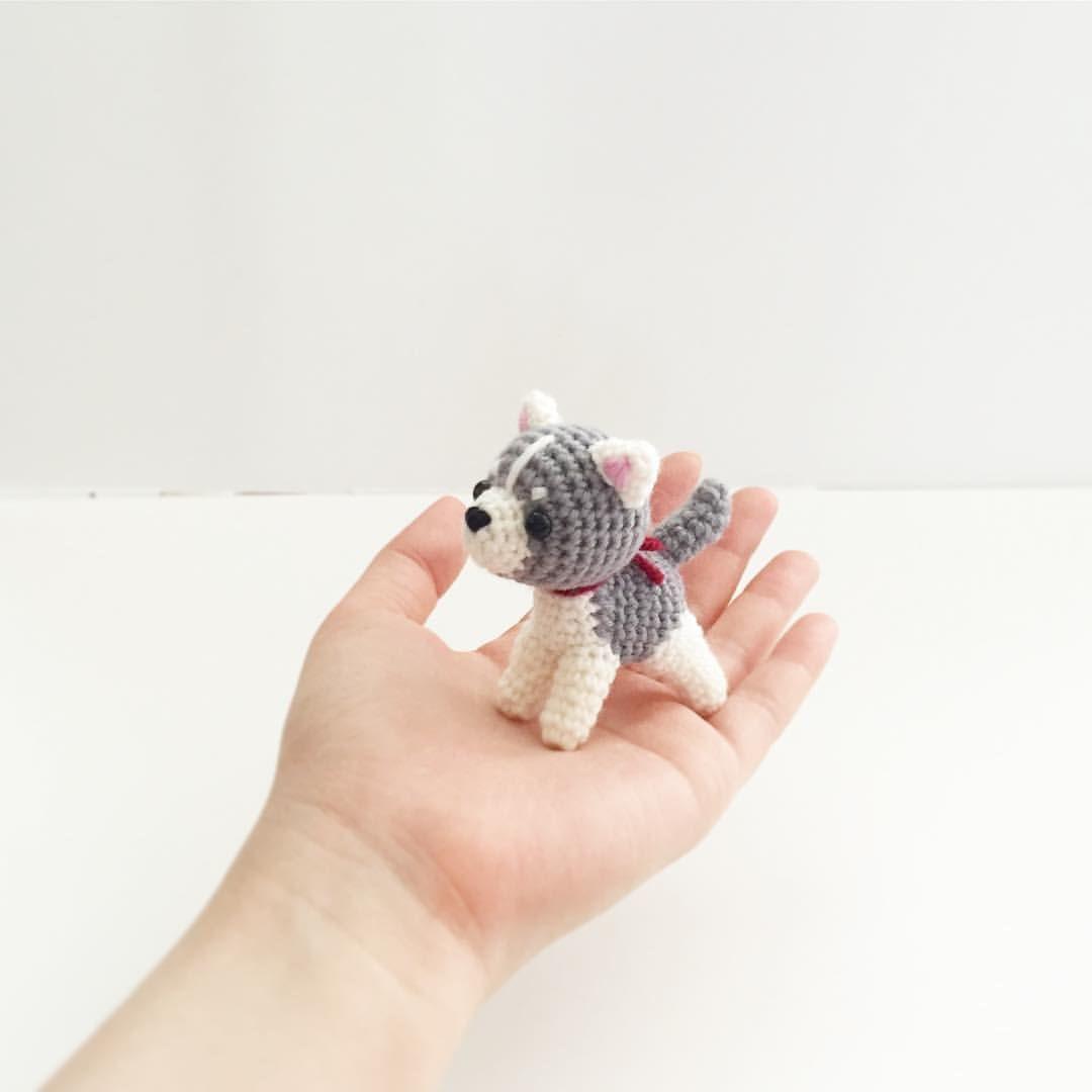 crochet siberian husky dog puppy doll, amigurumi by isoDreams