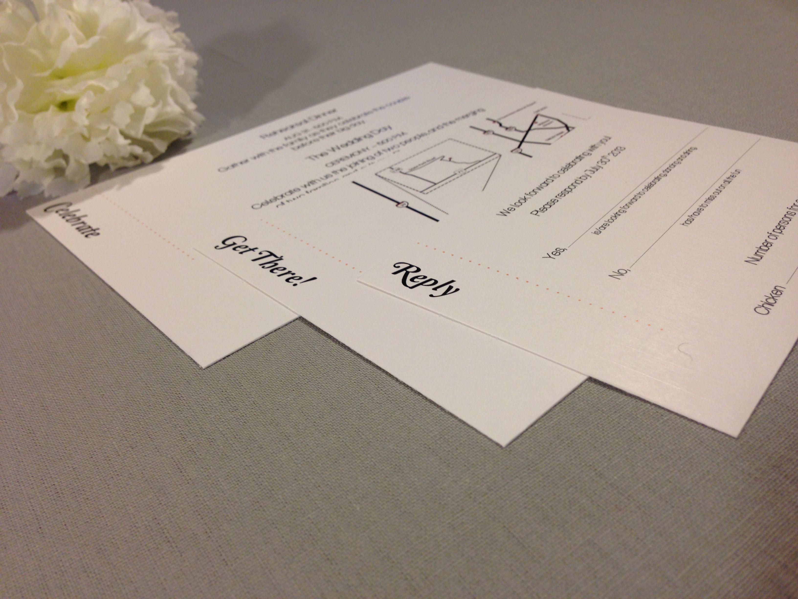 Pocketfold Inserts Navy Blue And Orange Wedding Invitation Set