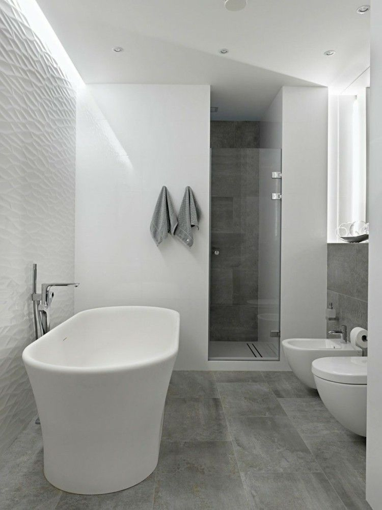 Modern bathroom floor tiles concrete look shower for Bathroom interior design white