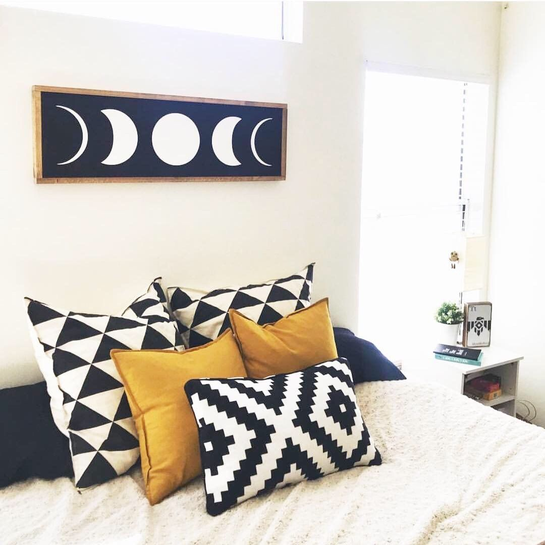 Photo of Moon Phases Wood Sign – Black Background