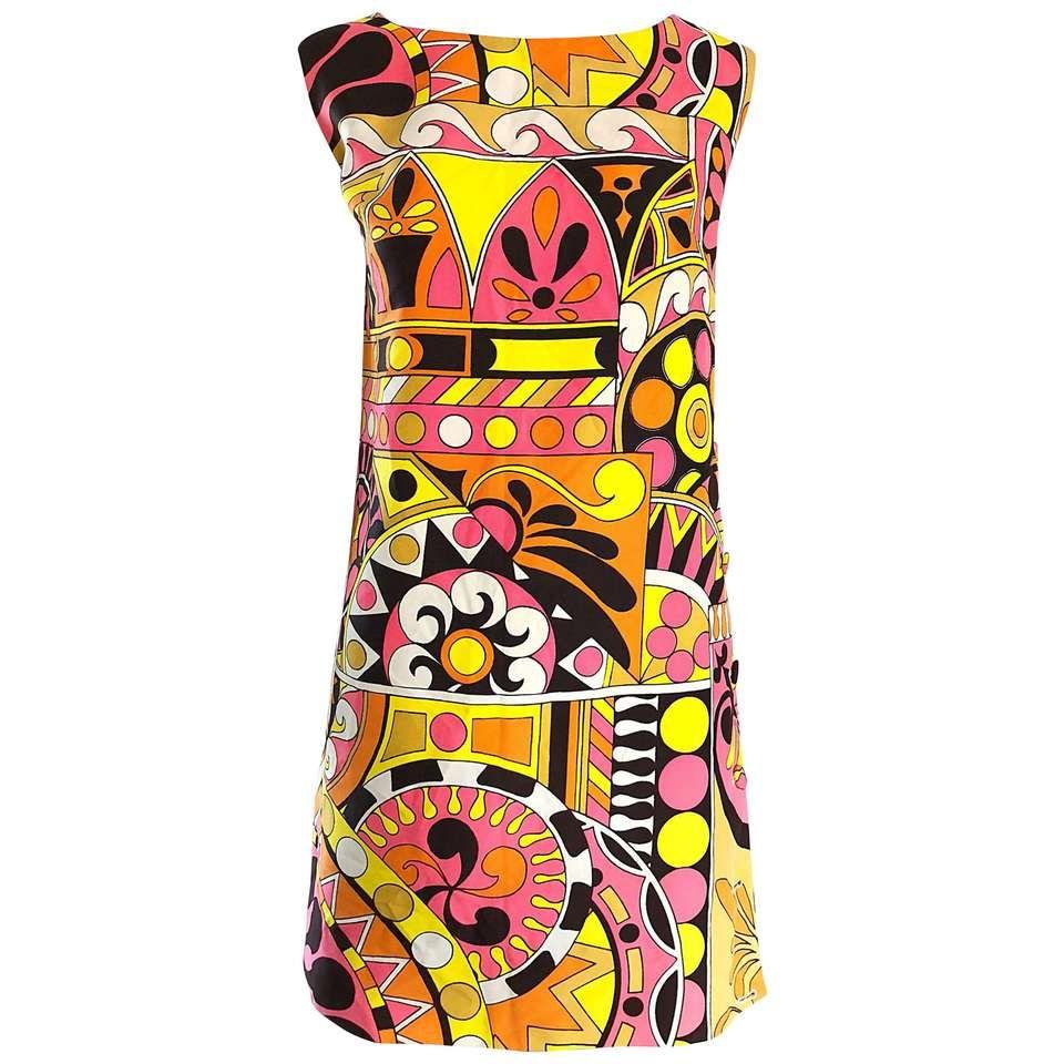 1960s Saks 5th Avenue Mod Kaleidoscope Print Pucci Style Vintage 60s Shift Dress 1