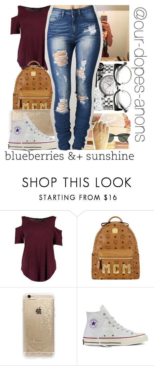 """Blueberries &+ Sunshine"" by our-dopest-anons ❤ liked on Polyvore featuring Boohoo, MCM, Rifle Paper Co, Converse, kay, ourdopestanons and keland"