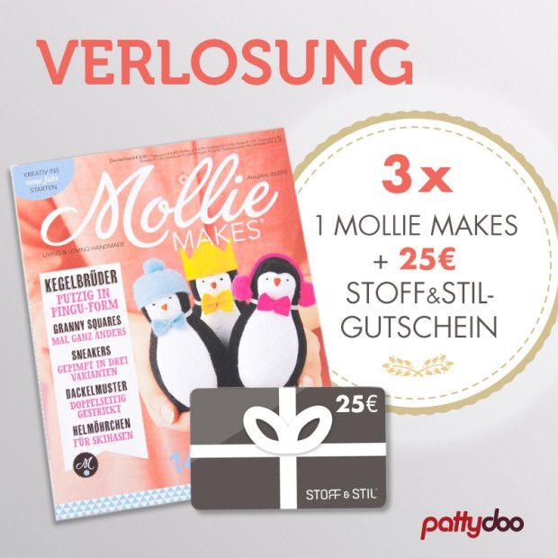 In der neuen Mollie Makes-Ausgabe ist meine Anleitung für eine kleine Patchworktasche. Daher verlose ich im pattydoo Blog 3x je ein Mollie Makes-Magazin plus einen 25-Euro-Gutschein von Stoff & Stil!