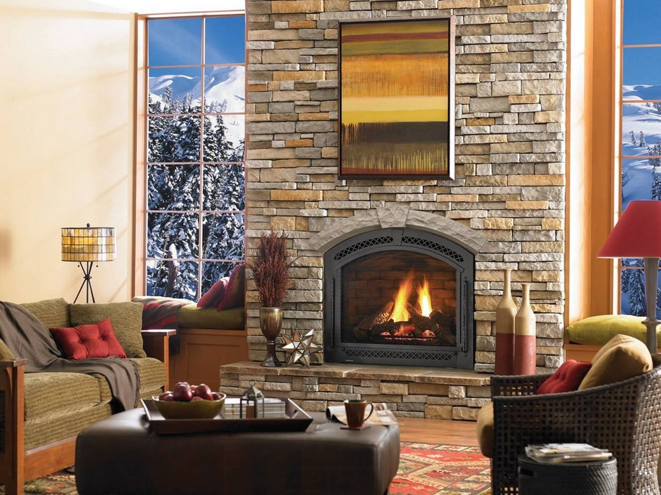 Interior Granite Stone Wall Gas Fireplace Repair Under Wall Mirror