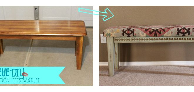 Groovy Diy Bench Makeover Discarded Plain Wooden Bench Into A Gmtry Best Dining Table And Chair Ideas Images Gmtryco