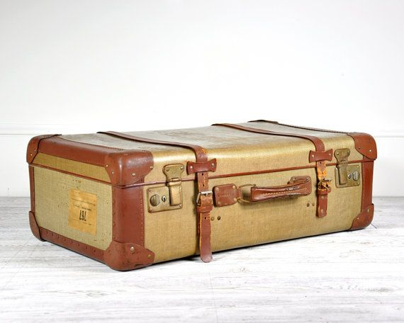 Vintage Tweed Suitcase with Leather Strapping / Vintage Luggage ...