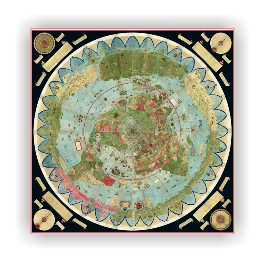 Ancient Flat Earth Map Poster Urbano Monte 1587 Earth Map Map