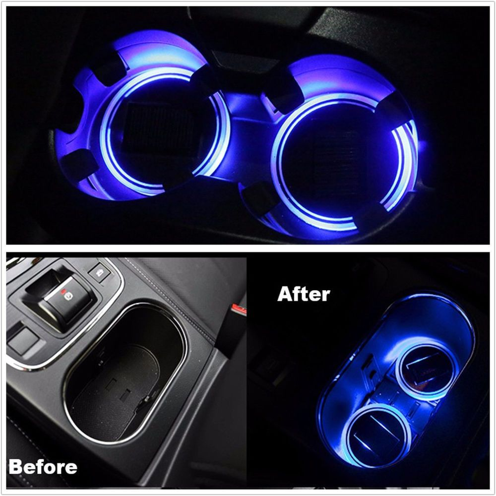 Anti-slip Mat Nice 2pcs Usb Car Cup Holder With Led Light Bottom Mat Pad Cover Lamp Bottle Drinks Coaster Car Styling Automobiles & Motorcycles