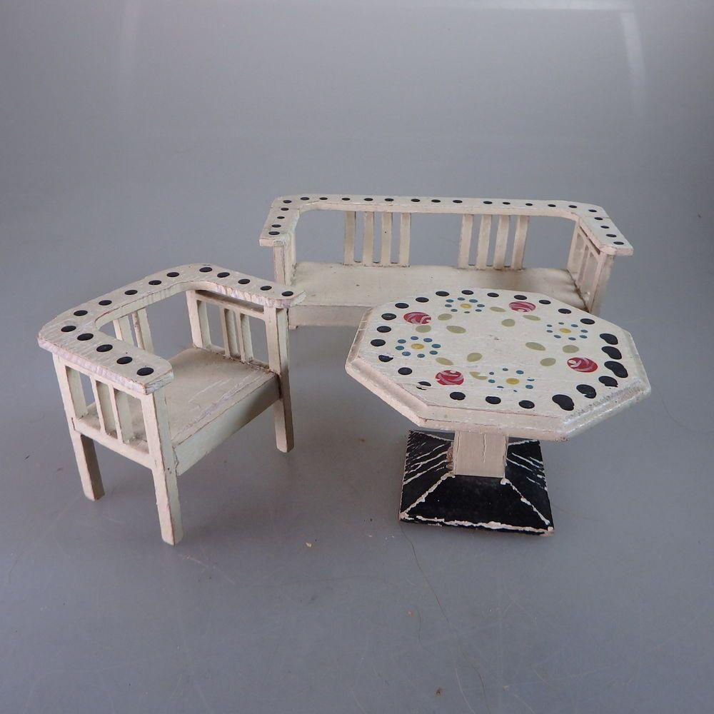 Fur Das Puppenhaus 3 Teilige Gartenmobel Garnitur Um 1910 51243 Garden Furniture Sets Furniture Home Decor