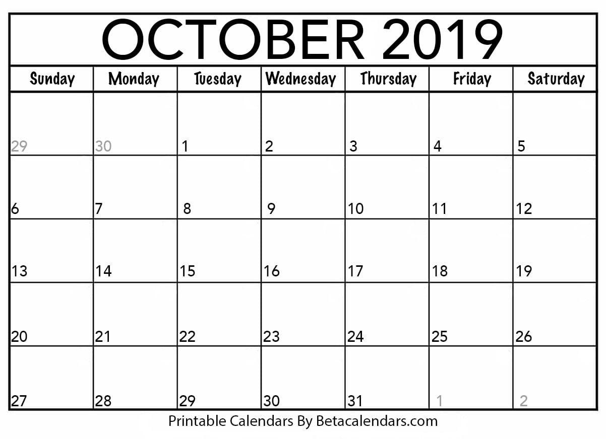 Blank October 2019 Calendar Calendar Printables December