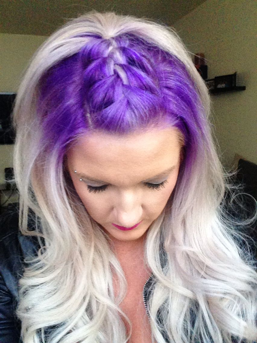 Purple mohawk braid hair pinterest mohawks makeup and hair style