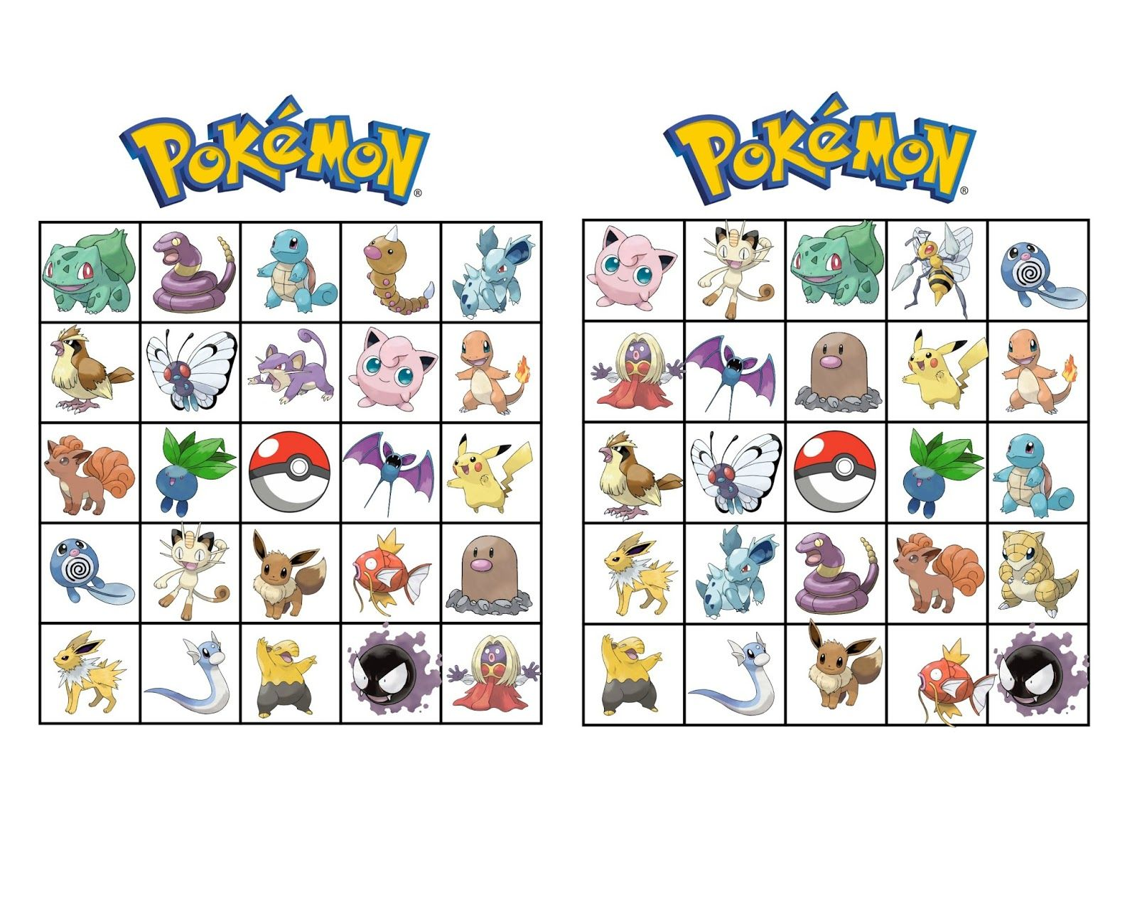 free printable pokemon bingo - Free Printable Pokemon Pictures