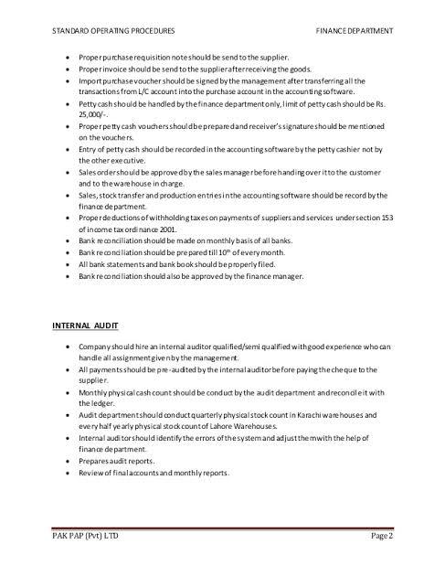 Sops For Finance Department Google Search Finance Accounting Standard Operating Procedure Examples