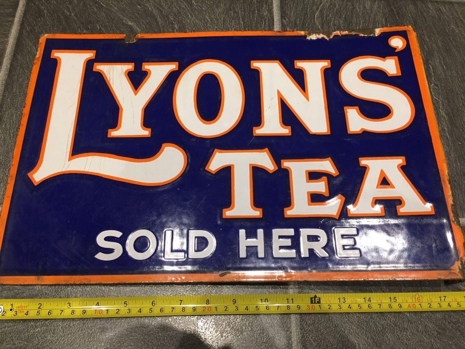Genuine Vintage Enamel Sign Lyons Tea Double Sided Shop Advertising ...