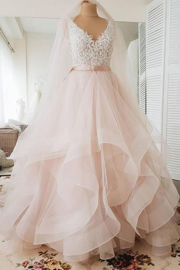 Ball Gown Light Pink Lace High Low Tiered Skirt Fluffy Wedding