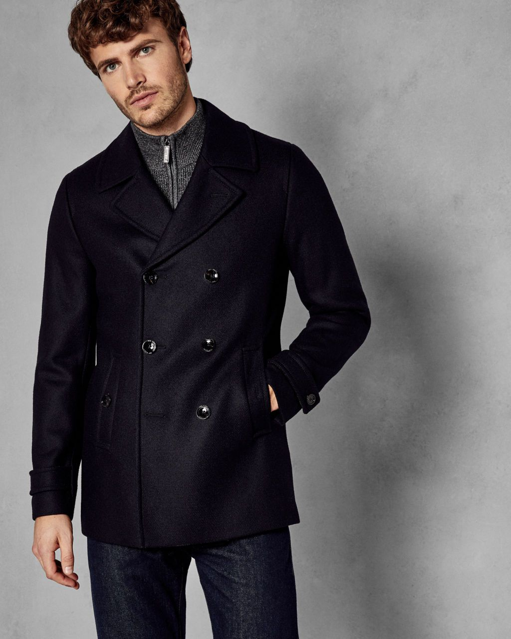 2906ee4de Ted baker navy peacoat for men. winter clothes. winter fashion and outfits.  winter layering for men. mens winter and fall fashion