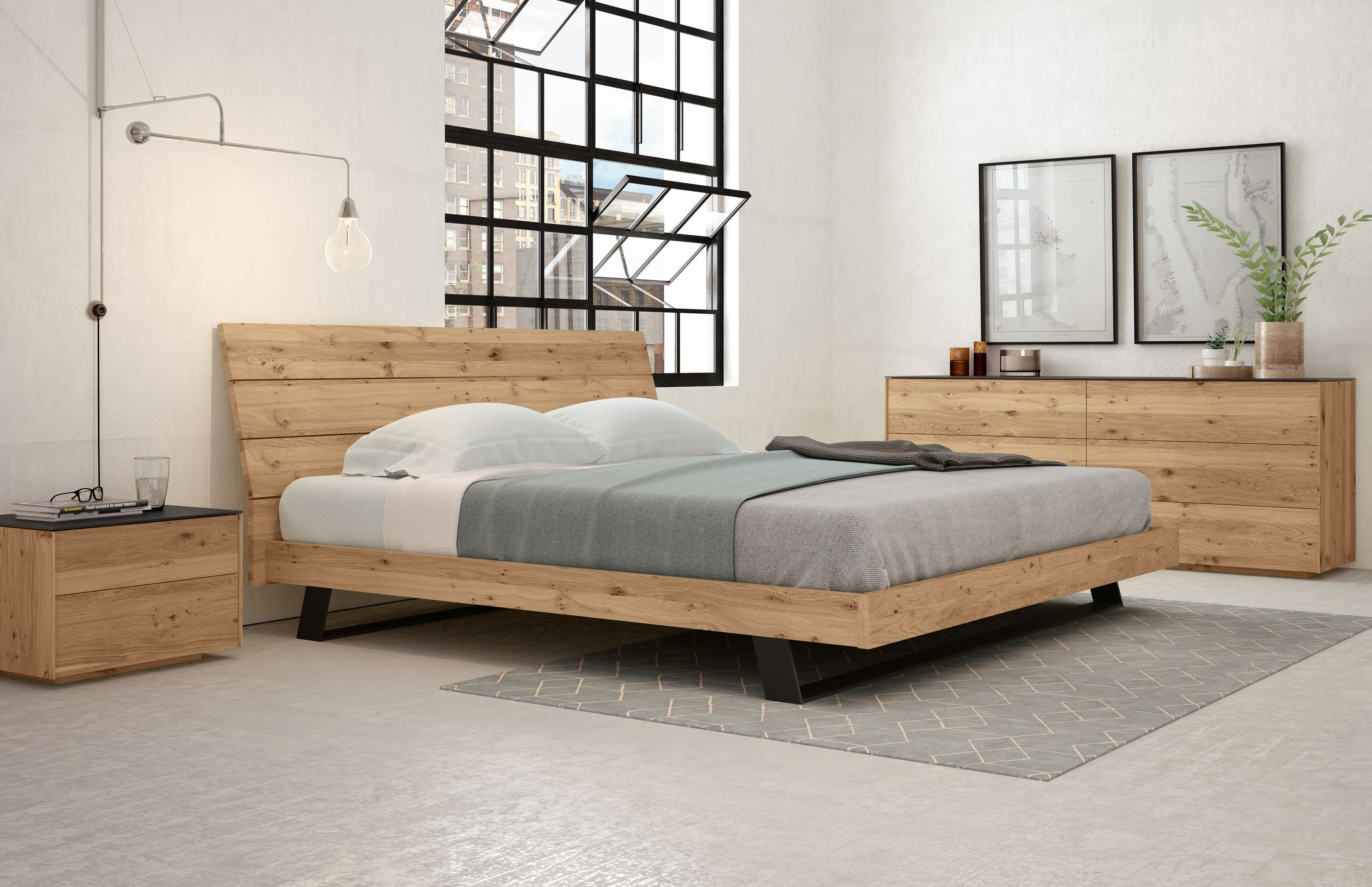 The Bella Queen Bed Features Light Colored White Oak Wood With A Black Frame Both Of Which Large Living Room Furniture Oak Bed Frame Fitted Bedroom Furniture