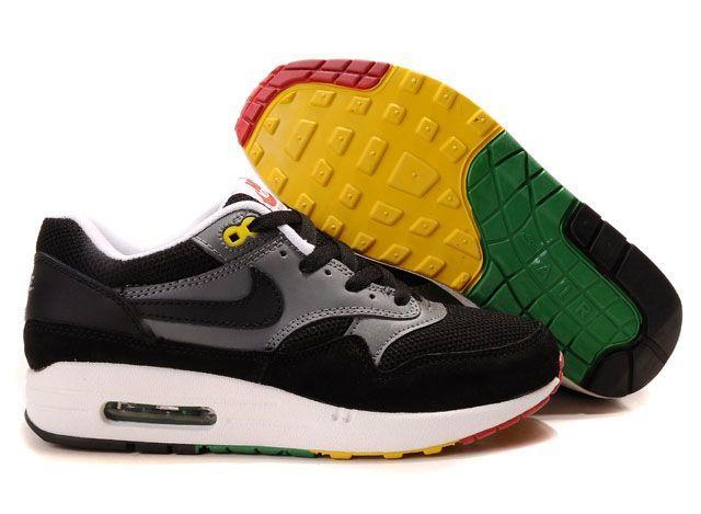Mens Nike Air Max 1 Black Black Anthracite Pine Green Shoes