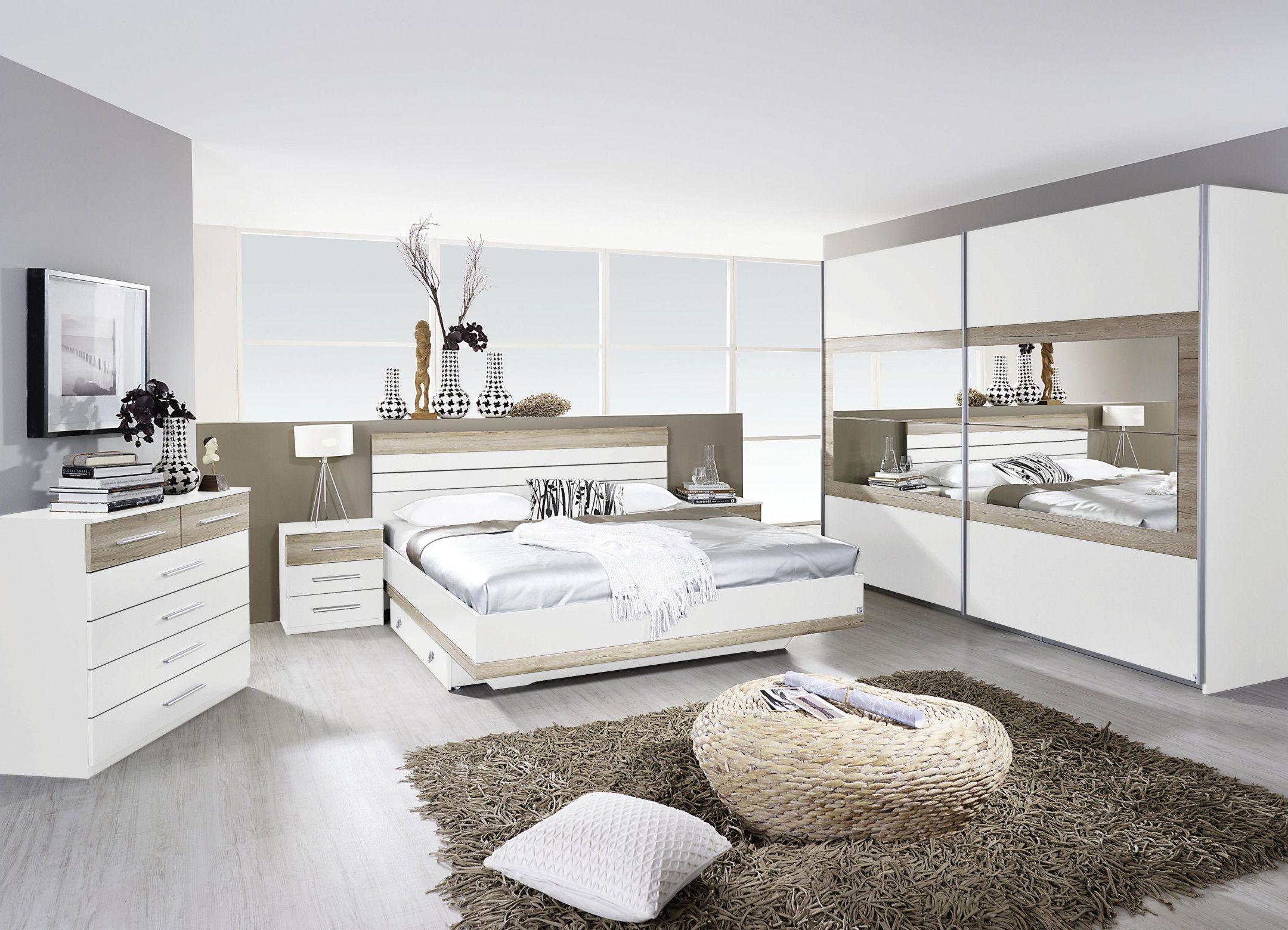 Schlafzimmer Mit Bett 180 X 200 Cm Alpinweiss/ Eiche Sanremo Hell ...