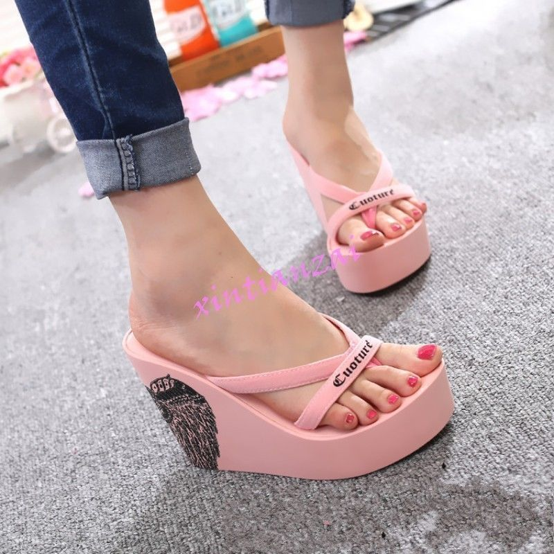 8c8d7a67a Womens Platform Beach Travel Wedge High Heel Flip Flops Shoes Sandals 2017  Hot