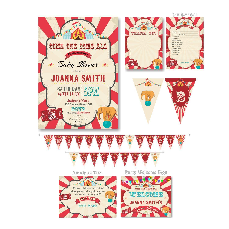 6-Piece-Suite - Circus Baby Shower Invitation, Circus BabyShower ...
