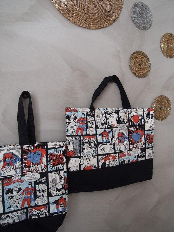 アメリカンコミック柄の通園バッグとシューズバッグのセットです。通園バッグは25センチ×35センチ。シューズバッグは24センチ×21セン...|ハンドメイド、手作り、手仕事品の通販・販売・購入ならCreema。