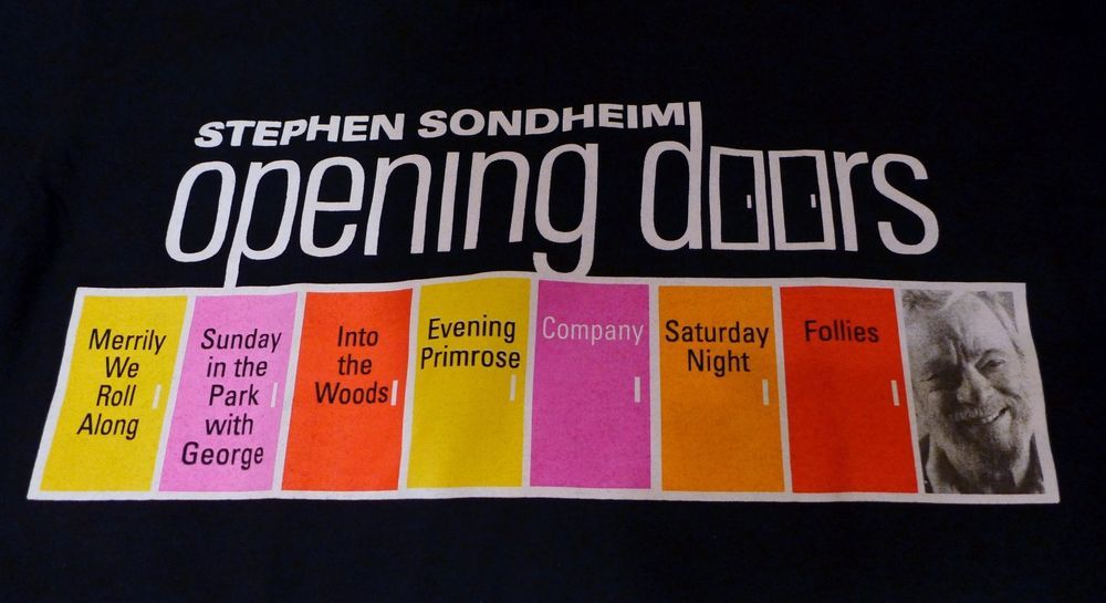 A treat for the Stephen Sondheim fan!  This is a rare collectible Opening Doors T shirt from the concert series at Carnegie Hall in 2004.