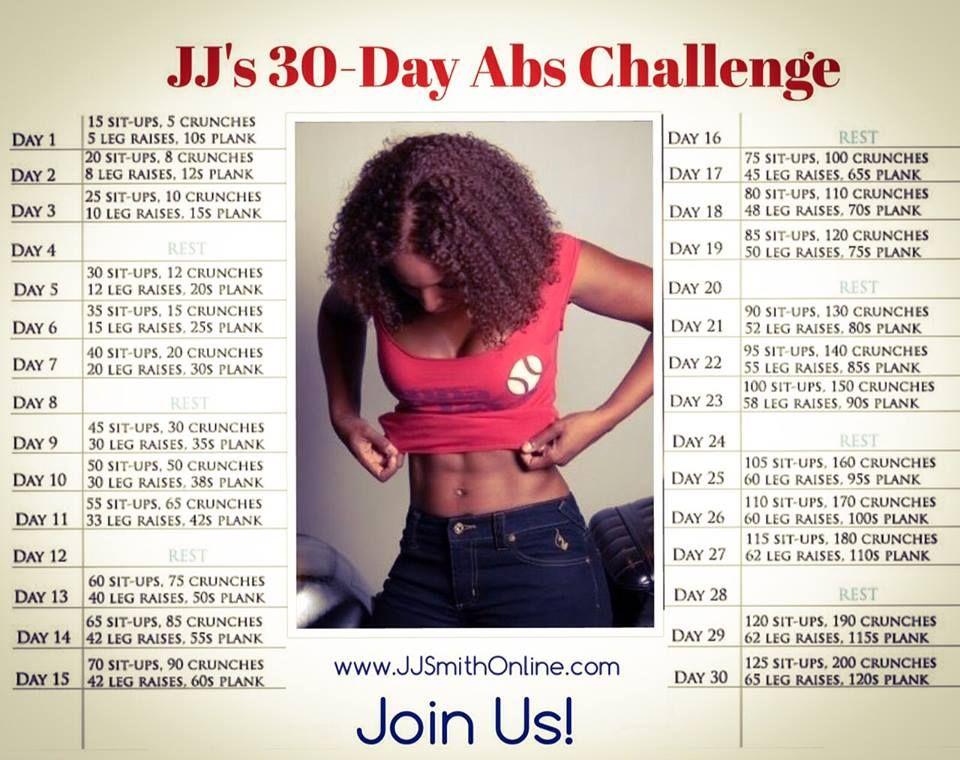 JJ's 30-Day Abs Challenge. JJSmith. JJ Smith. | Work It
