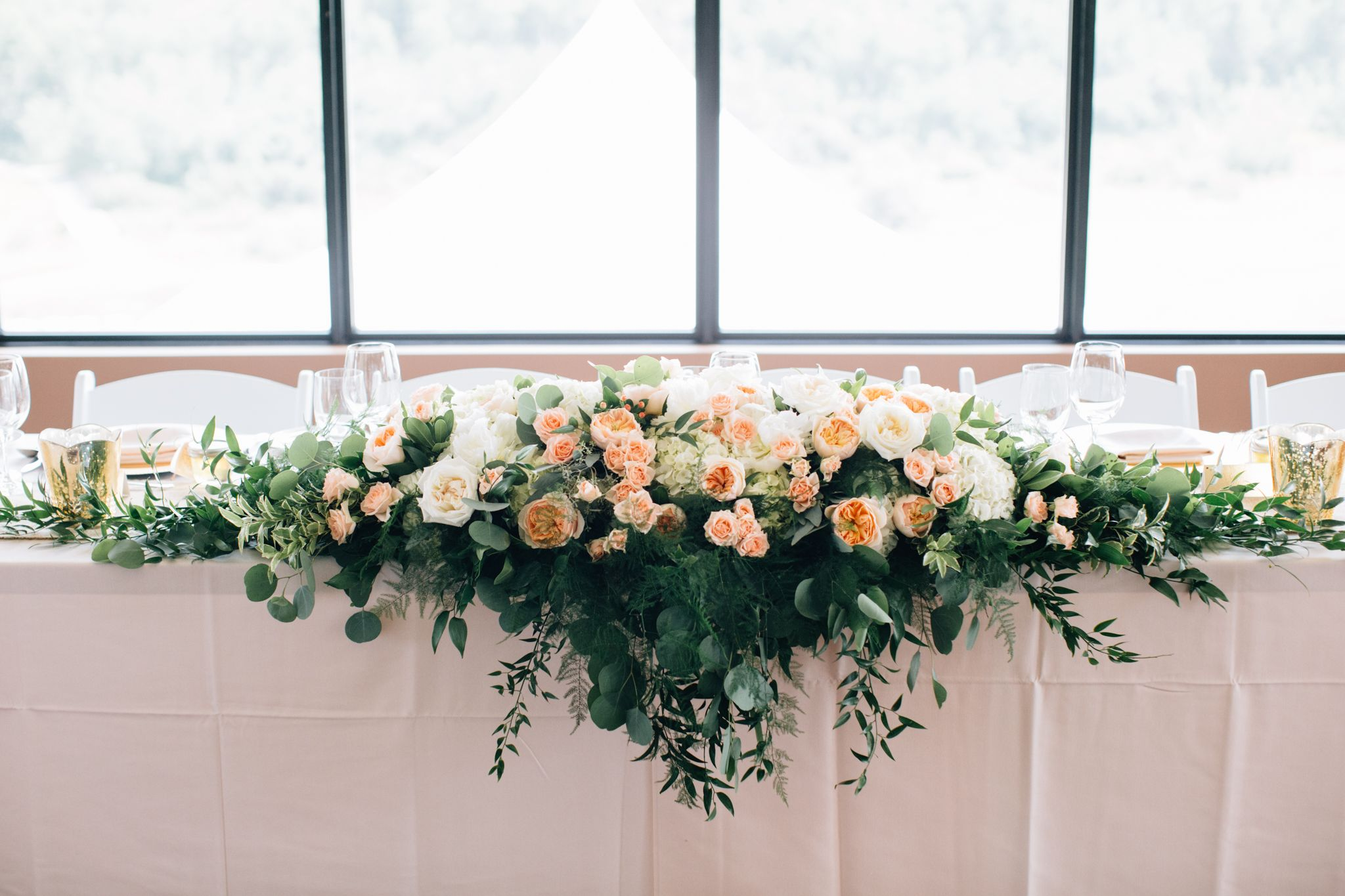 Calgary Wedding Flowers 5 Foot Long Head Table Arrangement With