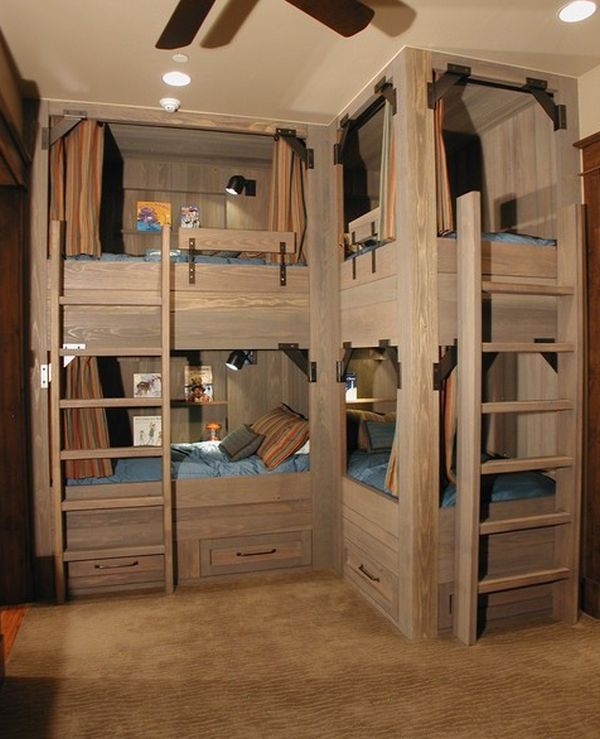 Bunk Beds For Four Wonderful Space Saving Additions To The Kids Rooms Corner Bunk Beds Bunk Bed Plans Bunk Beds Built In